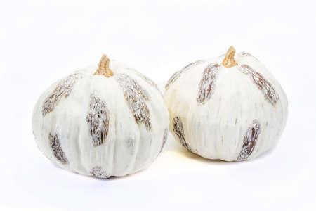 Decorative pumpkins on white background