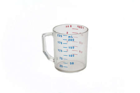 Water container with milliliters on white background