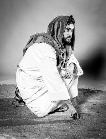 Jesus Christ at night. Black and white.
