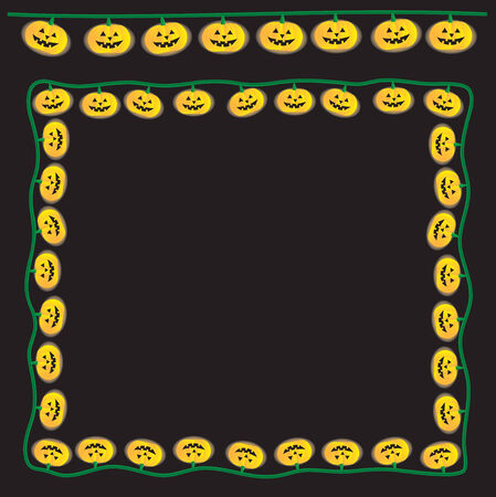 Strand of happy pumpkin lights. The two strands are seperated from each other and the background.