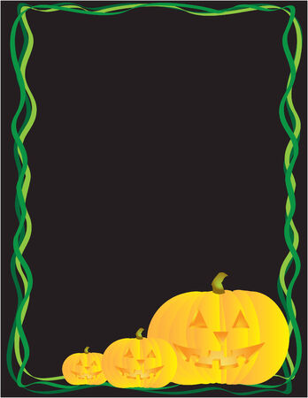 3 happy pumpkins in a vector file. Vine and each pumpkin is separate from background Illustration