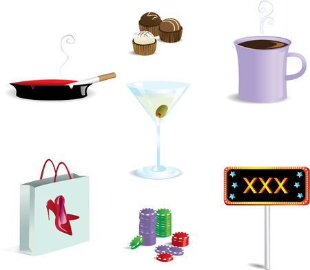 Various vices icons all on a separate layer.