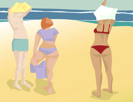 three sunbathers in a vintage graphic style vector file. Each figure as well as the beach are on their own layer