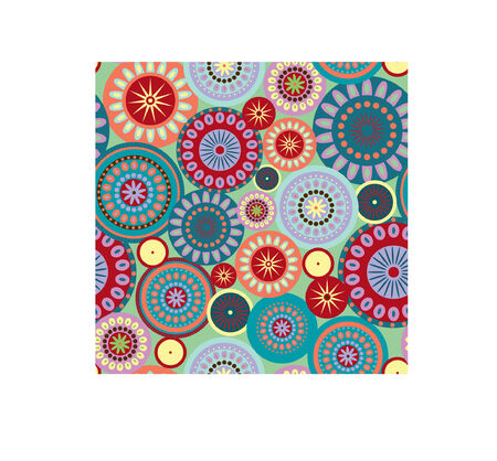 A seamless pattern illustration of colorful and festive circles. Great for happy backgrounds.