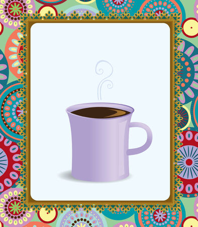 A vector illustration of coffee in a funky frame Illustration