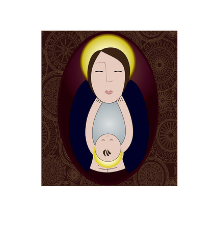 illustration of the Madonna and her Child  向量圖像