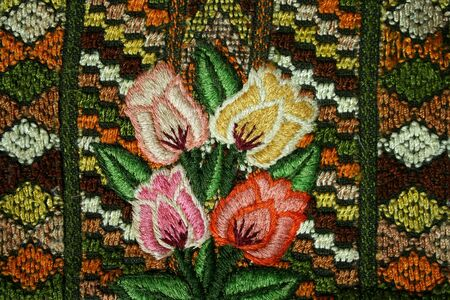 Detail of a floral pattern on ethnic fabric