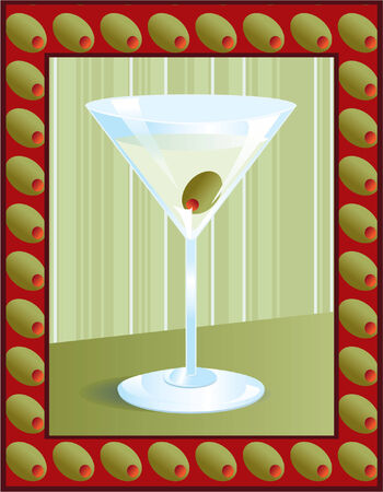 Illustration of a martini in an olive frame.