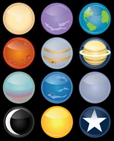 zon en maan: Afbeelding pictogram set van de negen planeten plus de zon, maan en een ster Stock Illustratie