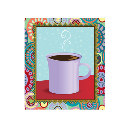 A hot mug of coffee in a funky frame Illustration
