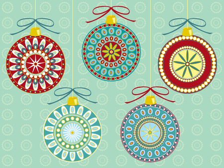 Illustration of five different festive Christmas ornaments