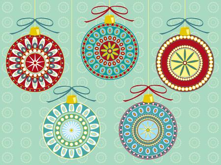 stylized design: Illustrazione di cinque diversi ornamenti di Natale festivi