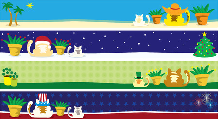 An illustration of kitty cat banners with the months of March, July, August and December Vector