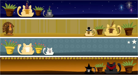 Illustration of cat and holiday banners featuring January, September, October and November. Elements are grouped nicely to be rearranged.