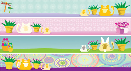 Illustration of cat and holiday banners featuring February, April, May and June. Elements are grouped nicely to be rearranged. Illustration