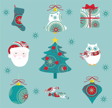 Illustration of a set of festive Christmas icons. Vector
