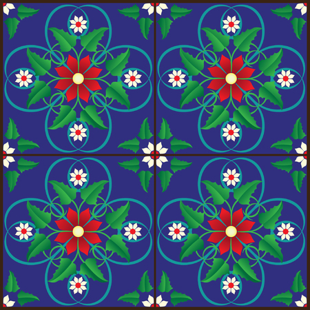 Illustration of some stylized tiles for a neat pattern Çizim