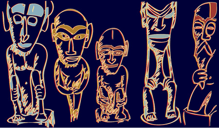 Illustration of Indonesian statues