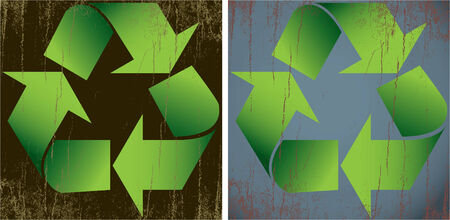 An illustration of two distressed recycle symbols. These are on four layers so the grunge is removable.