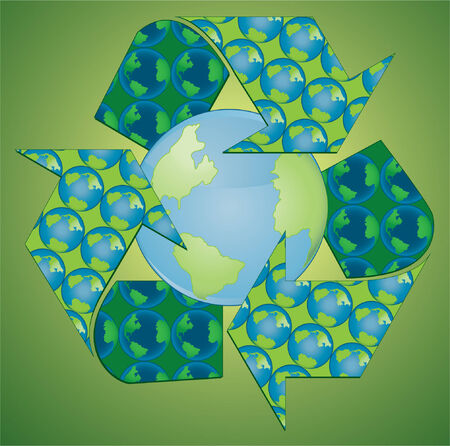 An illustration of the recycle symbol around the earth.