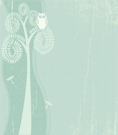 Illustration of an owl in a tree. Layers are separated for easy editing. Illustration