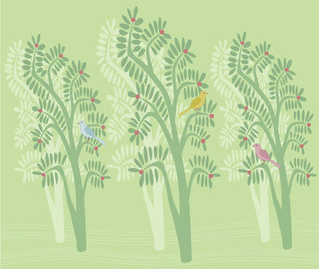 Illustration of colorful birds sitting in trees.