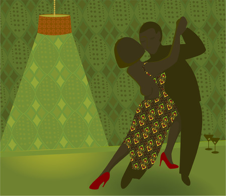An illustration of two dancers in a retro nightclub