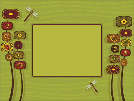 congratulations card: Illustration of a stylized garden with room for text.