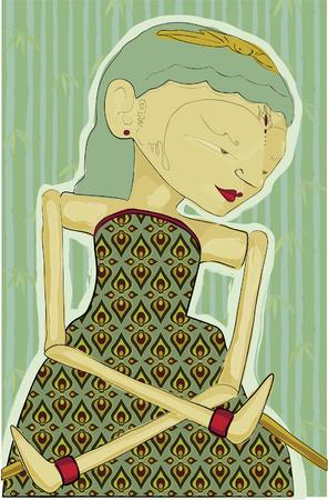 ジャワの人形のミクスト メディアコラージュ スタイルのイラスト