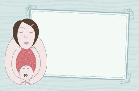 甘い母と赤ちゃんカード テキストのための部屋。母の日、ベビー シャワーまたは生れの発表のために大きい。  イラスト・ベクター素材