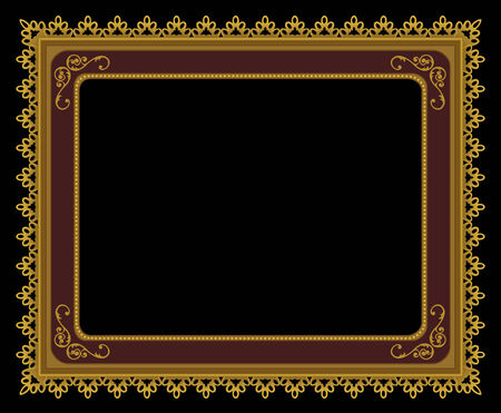 old furniture: An elegant gold sgraffito frame Illustration