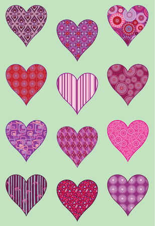 Patterned hearts illustration Illustration