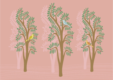 Lovely illustration of birds in trees Illustration