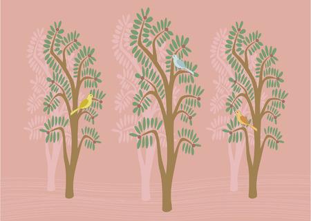 Lovely illustration of birds in trees Stock Vector - 6482203
