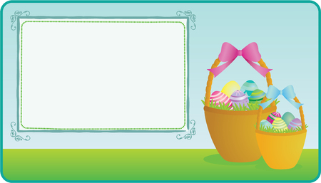 Easter basket illustration with copy space