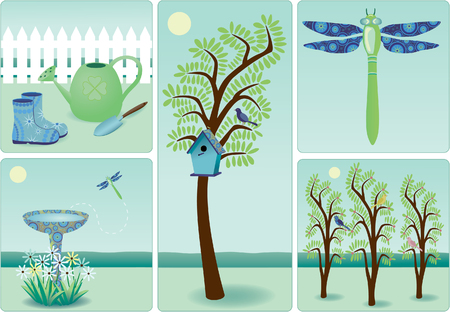 Illustration of gardening elements Illustration