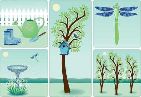Illustration of gardening elements Vettoriali