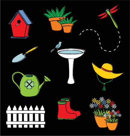 Illustration of garden icons Illustration
