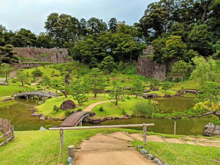 This garden photo was taken just outside one of the castles in Kanazawa early in the morning. Editorial