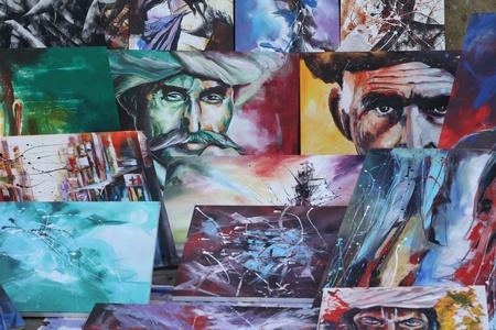 sante: Paintings on sale at Chitra sante - An art fare happenes every year at Chithrakala parishath, Bangalore, Karnataka