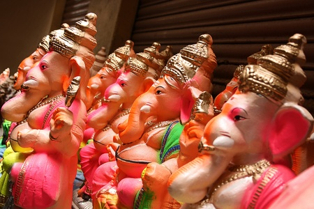 plaster of paris: Hindu god lord Ganesha idols on sale during ganesha festival