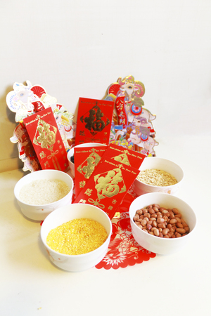 Grains with Chinese new year decoration photo