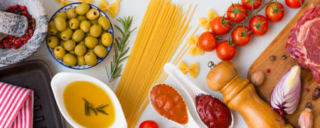 Set of tasty grilled beef entrecote with spaghetti to cooking a tasty dinner and other ingredients. Stock Photo