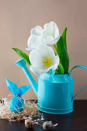 Blue watering can with white tulips and Easter egg in the form of rabbit on brown background. Holiday decorating. Archivio Fotografico