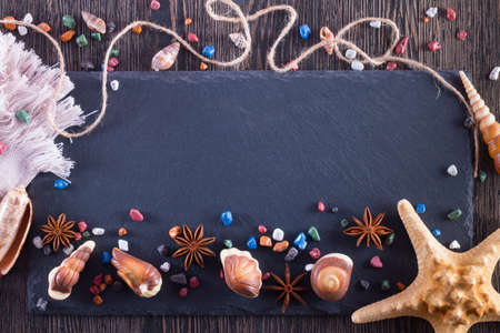 Candy in form of seafood with chocolate stones and sugar. Marine topic