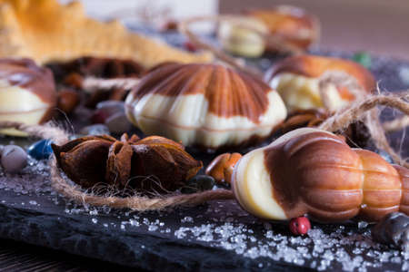 Candy in form of seafood close up. Traditional Belgian shell shape on black background Archivio Fotografico