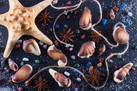 Marine topic on black stone. Candy in form of seafood with chocolate stones, sugar and anice