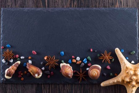 Traditional Belgian shell shape on black background