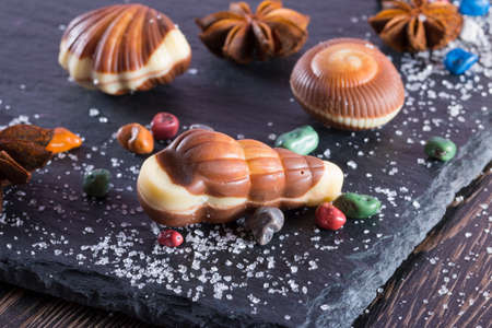 Traditional Belgian shell shape on black background. Candy in form of seafood close up