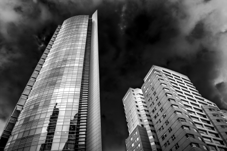 Couple of buildings in high contrast black and white. Stock Photo